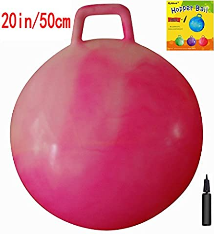 Space Hopper Ball with Air Pump: 20in/50cm Diameter for Ages 7-9, Hop Ball, Kangaroo Bouncer, Hoppity Hop, Jumping Ball, Sit & Bounce