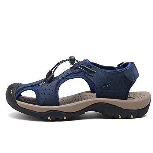 traspirante BINODA per pelle EU vera Sandali da 41 spiaggia Blu traspirante Sandali Marrone Scarpe in uomo Dimensione Color CICrqvc4w