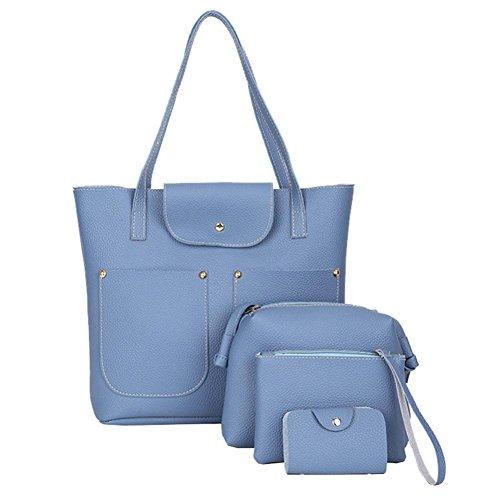 Sale Clearance Women Bag Halijack Ladies 4Pcs Casual PU Leather Bag Soft Shoulder Bag Tote Purse Bag Top-Hanle Satchels Handbag+Crossbody Bag+Messenger Bag+Card Package Blue