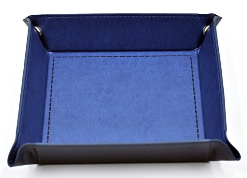 HD DICE Dice Rolling Tray - Eco Friendly Leather Collapsible Dice Tray Catchall Change Key Wallet Coin Box Tray (Blue)