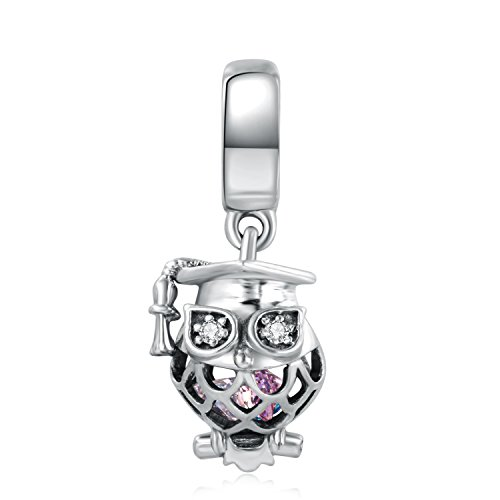 925 Sterling Silver Owl Charm (VEAMOR Solid 925 Sterling Silver Owl Charm Bead Pandora)
