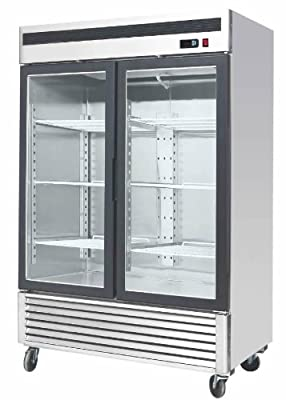 "55"" Freezer Double Glass Doors Stainless Steel Reach-in Commercial Grade Restaurant - 45 Cu. Ft. - Auto Defrost - Digital Control - 6 Adjustable Shelves"