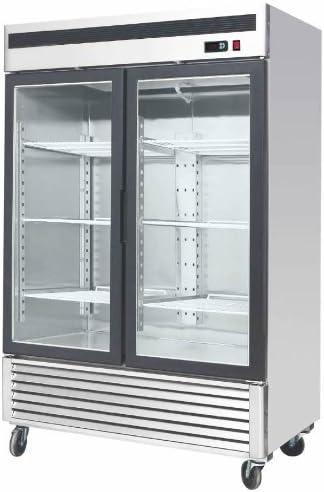 "55"" Freezer Double Glass Doors Stainless Steel Reach-In Commercial Grade Restaurant - 45 Cu. Ft. - Auto Defrost - Digital Control - 6 Adjustable Shelves"