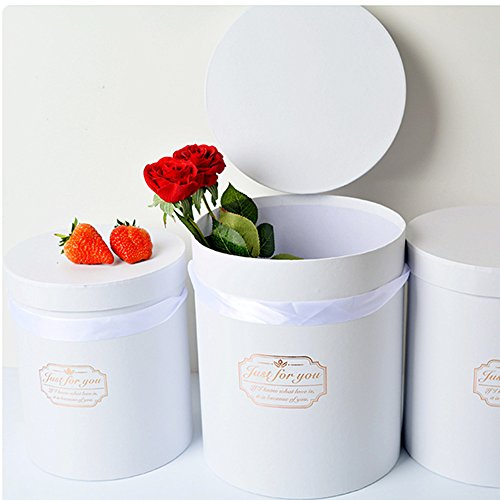 BBC Luxury Cylindrical Packaging Flower Paper Box With Lid Set/3 (S/M/L) (White)