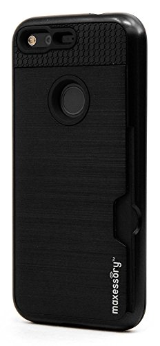(Google Pixel Case Maxessory [Enhanced] Thin Rigid Tough Reinforced Protective Armor Cover W/Reinforced Bumper Easy-Access Card Holder Black For Google Pixel (5.0 inch))