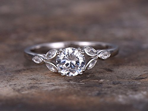 - 6.5mm Round Cut 1ct Engagement ring,925 sterling silver stacking wedding band,CZ Bridal ring,Retro vintage,marquise bezel,white gold plated,Man Made diamond CZ ring,any size