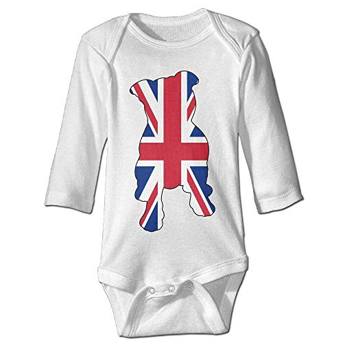 Infant Baby Girls Long Sleeve Baby Clothes British Flag in Pitbull Print Jumpsuit Onesie White]()