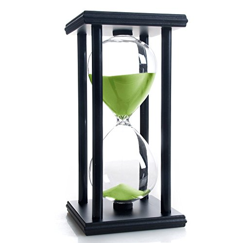 Hourglass 60 Minutes Green Sand Timer, Black Wooden Frame Sandglass by Samlong