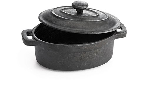- TableCraft CW30112 Cast Iron Mini Oval Casserole with Lid Cookware, 8-Ounce, Black