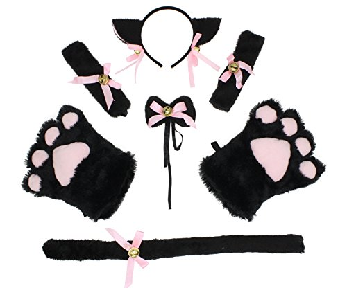 Litluxe Womens Cat Cosplay Neckwear Ears Tail Collar Paws Bracelet Costume Set with Bell (Black)