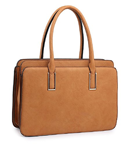 Ladies Stylish Multi Compartment Work Day Bag - Women's Briefcase Handbag MA36094 Brown