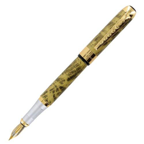 UPC 000088301877, JinHao 250 Golden Yellow Blend Gold Trim Fountain Pen - Medium