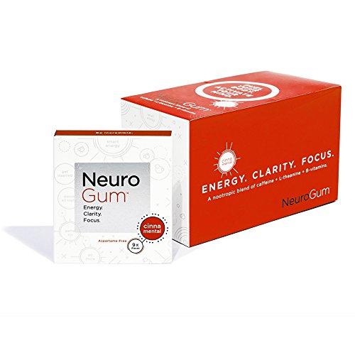 NeuroGum Nootropic Cinnamon Flavor Energy Gum | Caffeine + L-theanine + B Vitamins | Sugar free + Gluten free + Non GMO + Vegan | CinnaMental Flavor (108 Count)