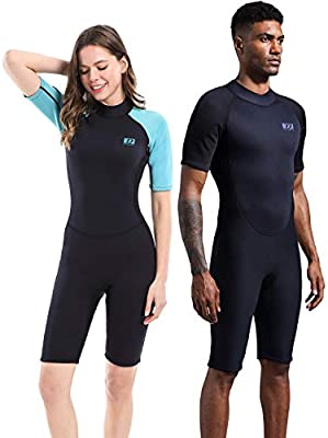 632207cf59 Dark Lightning Men's and Women's Shorty Wetsuit, 2mm Premium Neoprene Wet  Suit to Keep Warm,One Piece Jumpsuit for Paddle, Diving,Surfing, ...