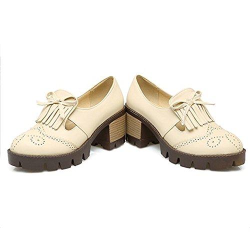 Aisun Womens Vintage Frange Tacco A Spillo Tacco Medio Con Plateau Slip Slip On Baroque Pumps Shoes Albicocca