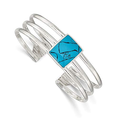 - 925 Sterling Silver Simulated Blue Turquoise Three Strand Cuff Bangle Bracelet Expandable Stackable Fine Jewelry Gifts For Women For Her