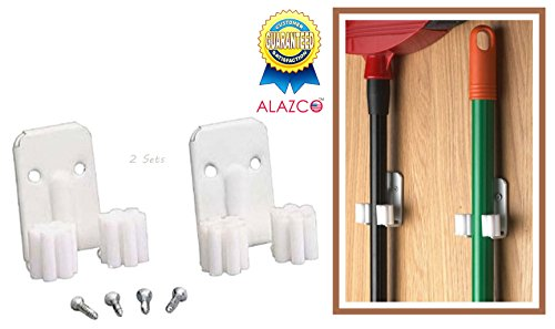 2 Sets - ALAZCO Broom Clips Mop Hanging Wall Hook Hanger Closet/ Garage Kitchen Organizer White Hooks - screws inlcuded
