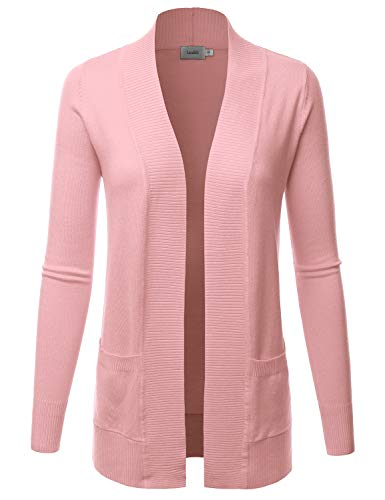 Front Cardigan Pocket - LALABEE Women's Open Front Pockets Knit Long Sleeve Sweater Cardigan-Dustypink-L