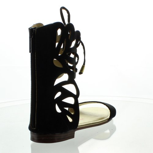 Bella Marie arie Fantacy-3 Women Lace Up Cut Out Ankle Cuff Zip Flat Gladiator Sandal Black 1dYMl