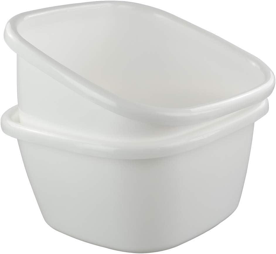 "Ggbin 18 Quart Plastic Dish Pans, 13.58""x13.58""x7"", 2 Packs(White)"