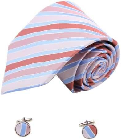 YAM1401.04 Classic Fabric Mens Silk Striped Neck Tie Cufflinks By Y&G