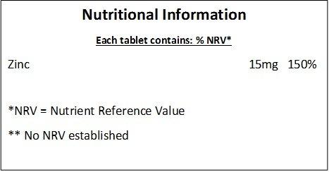 Zinc 15mg - 180 Tabletas - *MINERAL ESENCIAL PARA DEPORTISTAS *