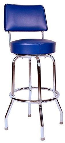 Richardson Seating Swivel bar Stool with Back Chrome Frame and Blue Seat, 24