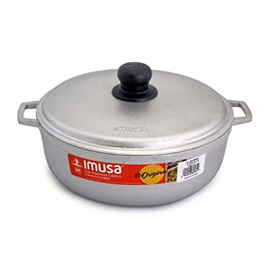 IMUSA Cast Aluminum Caldero Dutch Oven 9.5 inches / 24cm, 3.7Qt, #5 Grey NSF Certified - GAU-80504