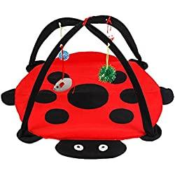 cat Toy, Pyrus Cat Play Mat Activity Pet Kitten Padded Bed Cat Play Center with Hanging Toy Balls & Mice for Cats