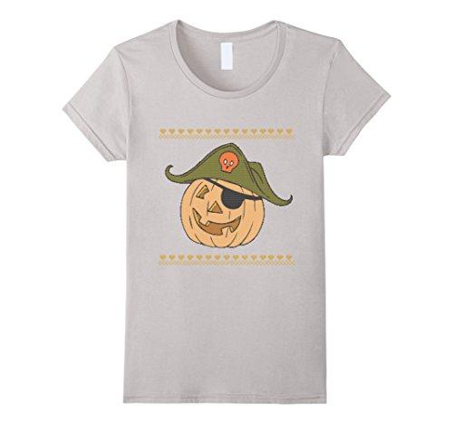 Womens Ugly Halloween Pumpkin Pirate Sweater Textured T-Shirt Small Silver