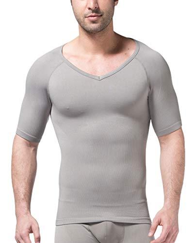Chartou Men's Short Sleeve Slim Fit V-Neck Seamless Compression T-Shirt Tops Undershirts (Grey, Large) - Postural Control