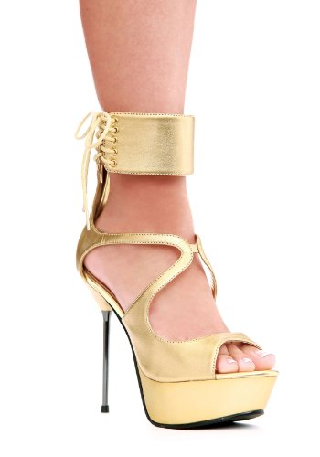 Ellie Shoes Women's Petra Sandal,Gold Polyurethane,7 M - Ellie Wrap Shoes