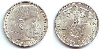 WW2 German 5 Mark Silver Coin Third Reich Reichsmark Hindenburg 1 One