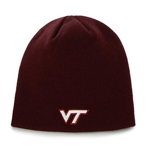 Virginia Tech Hokies Maroon Skull Cap - NCAA Cuffless Winter Knit Beanie Hat -  47 brand