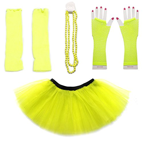 Dreamdanceworks 80s Fancy Costume Set - TUTU & LEG WARMERS & FISHNET GLOVES & BEADS (Neon Yellow) - Neon Colors Costumes