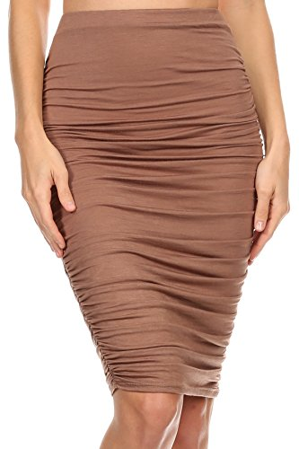 Hottest Women Of The 70s (MeshMe Womens Diana - Mocha Coffee Brown Latte Bodycon High Waist Knee Length Ruched Accent Holiday Dinner Fall Autumn Winter Boho Lightweight Retro 1970s Midi Pencil Skirt Plus Extra Large)