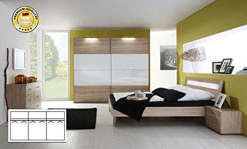Komplett Schlafzimmer 2247 eiche säger./ weiß Glas ...