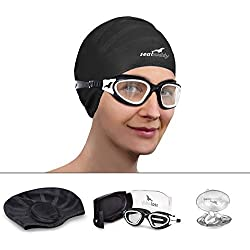 SealBuddy Premium Swim Gear - Swim Goggles + Swim Cap + Swim Ear & Nose Plugs (White Wash, Clear)
