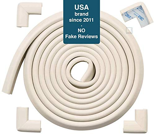 Roving Cove | Baby Proofing Edge & Corner Guards | Safe Edge & Corner Cushion | Child Safety Furniture Bumper | Table Protectors | Pre-Taped Corners | 16.2 ft [15 ft Edge + 4 Corners] | Oyster color