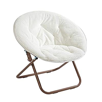 Urban Shop Faux Fur Saucer Chair with Metal Frame, One Size, White - 100% micro mink fabrication with durable metal frame Opens and folds in seconds for easy storage - No assembly required Weight Capacity is 225 lbs and fits most young adults and adults.  Chair easily folds up and can be stored without taking up much space when not in use - living-room-furniture, living-room, accent-chairs - 411iyz9bdOL. SS400  -