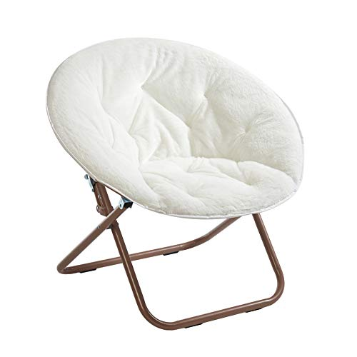Urban Shop Faux Fur Saucer Chair with Metal Frame, One Size, White (Lotus Chair)