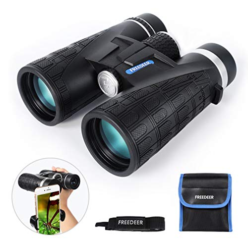 FREEDEER 10x42 Binoculars for Adults, Compact HD Low Light Night Vision Waterproof Professional Telescope for Bird Watching Hunting Stargazing Travel Concerts Sports, Smart Phone Mount Carrying Bag (Hunting Star)