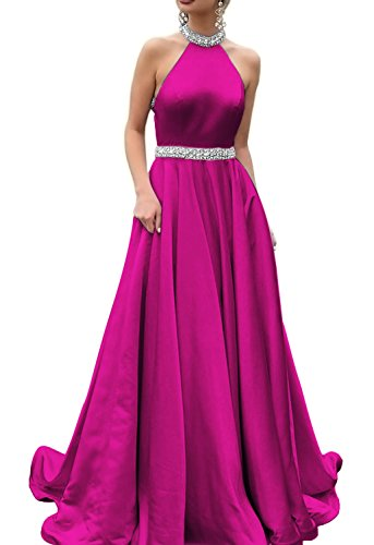 HONGFUYU 2018 Halter Prom Dresses Backless Neckline Rhinestone Beaded Formal Satin Evening Ball Gowns HFY202-Fuchsia-US10
