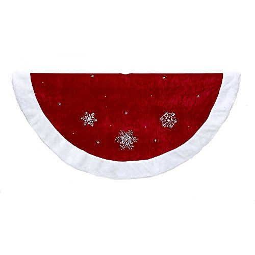 Kurt Adler Red Snowflakes with Border Tree Skirt, 48