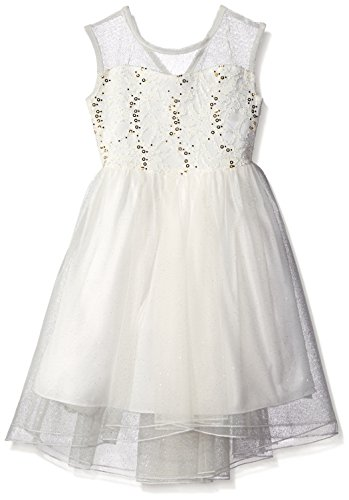 Speechless Little Girls Illusion Sequin Dress Knee Length Extended Shoulder Boat Neck, Ivory/Gold, 6