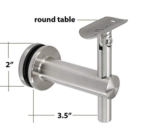 Shemonico Glass Mounted Staircase Adjustable Saddle Hand Rail Bracket for 2