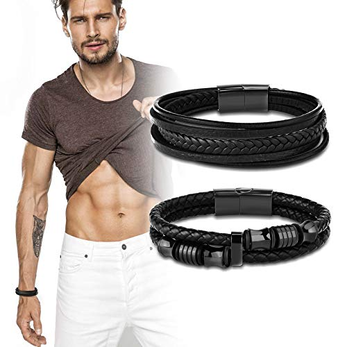 - LOYALLOOK 2pcs Braided Leather Bracelet for Men Bangle Wrap Genuine Leather Black Bracelet Stainless Steel Magnetic-Clasp 8-9 Inch
