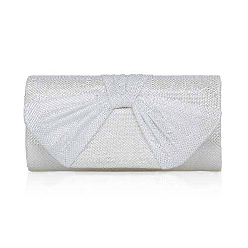 Damara Womens Medium Evening Party Shiny Pleated Trefoil Flap Clutch White