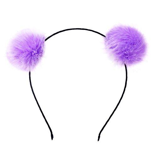 (Mwfus Girl's Adorable Fur Ball Pompom Ball Hair Hoops Headbands Purple)
