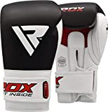 RDX Boxing Gloves for Training & Muay Thai - Cowhide Leather Mitts for Kickboxing, Fighting & Sparring - Great for Heavy Punch Bag, Double End Speed Ball, Grappling Dummy and Focus Pads Punching